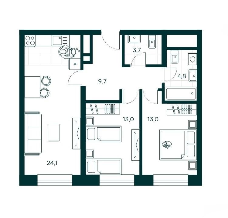2-комнатная квартира 68.3 м² с проторной кухней-гостиной и двумя изолированными спальнями