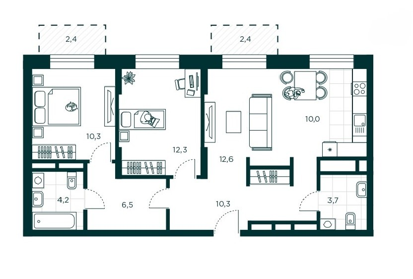 3-комнатная квартира 69.9 м² с евро планировкой