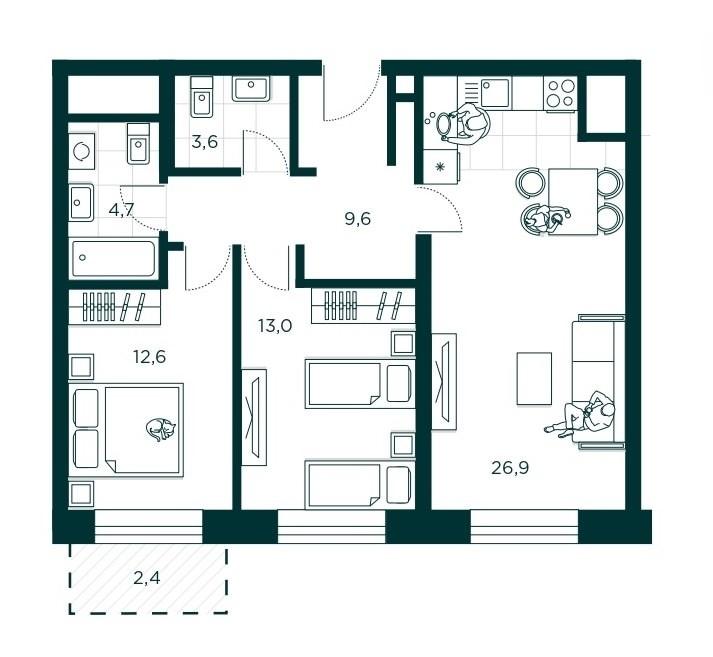 3-комнатная квартира 70.4 м² с просторной кухней-гостиной и двумя спальнями
