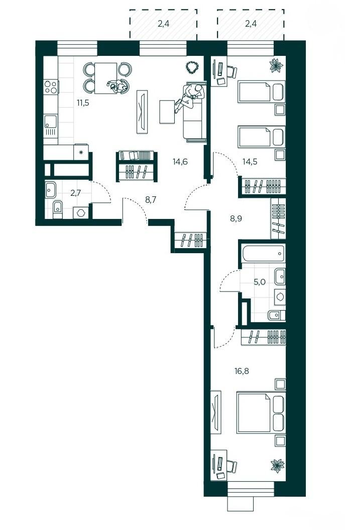 3-комнатная квартира 82.7 м² с кухней-гостиной и двумя изолированными спальнями