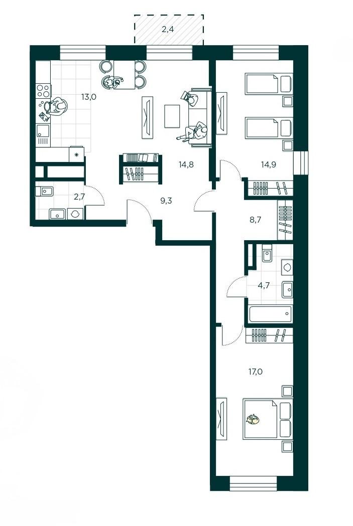 3-комнатная квартира 85.1 м² с кухней-гостиной, спальней для родителей и детской