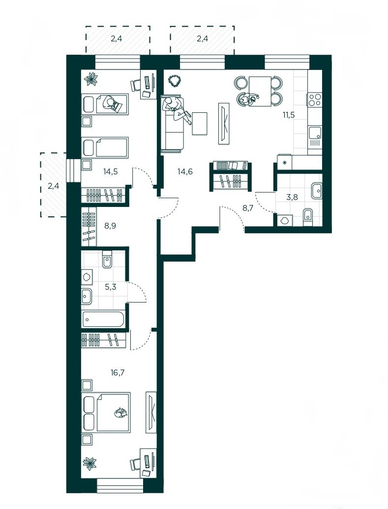 3-комнатная квартира 87.5 м² с кухней-гостиной и двумя спальнями