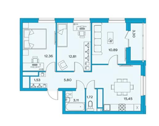 3-комнатная квартира 65.3 м² с просторной кухней