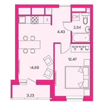 2-комнтаная квартира 37.41 м² с евро планировкой