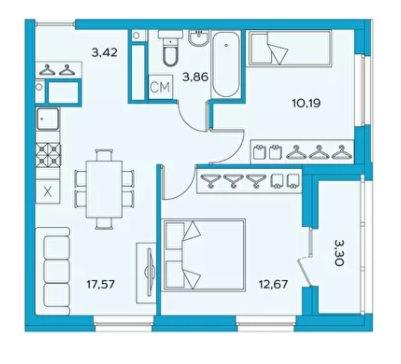 евро 3-комнатная квартира 49.36 м² с кухней-гостиной и двумя изолированными спальнями