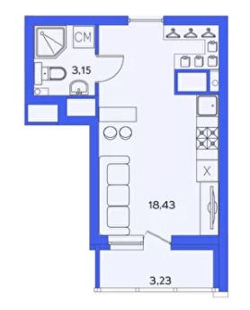Квартира-студия 23.20 м² с лоджией