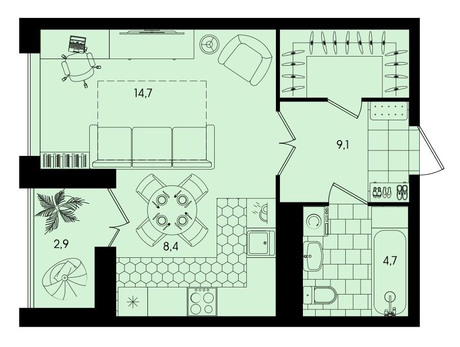 Квартира-студия 39,8 м² с гардеробной