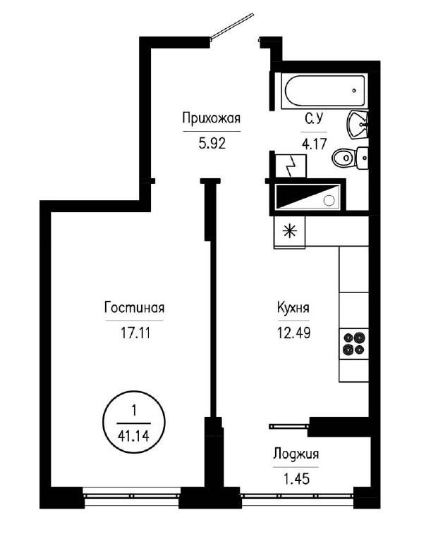 1-комнатная квартира 41,14 м² с лоджией из кухни