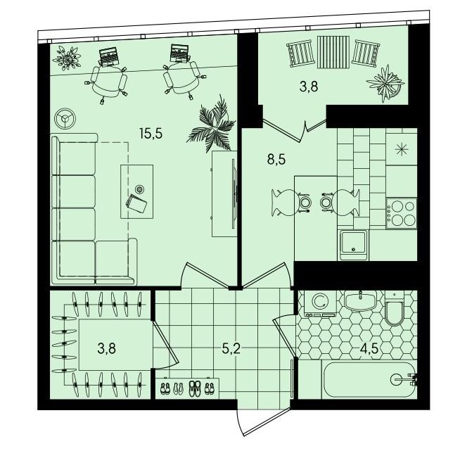 1-комнатная квартира 41,3 м² с гардеробной и лоджией