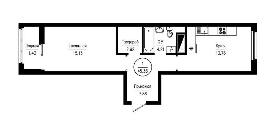 1-комнатная квартира-распашонка 45,33 м²