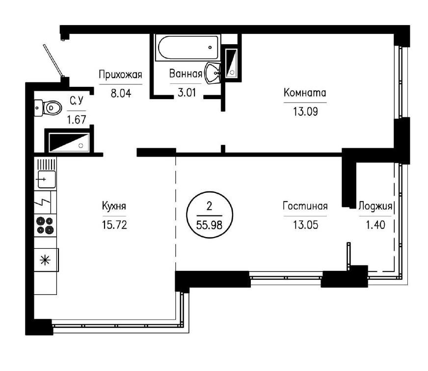 2-комнатная квартира 55,98 м² с просторной кухней-гостиной и изолированной спальней