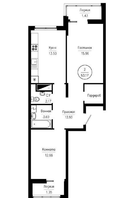 2-комнатная квартира-распашонка 63,17 м² с гардеробной