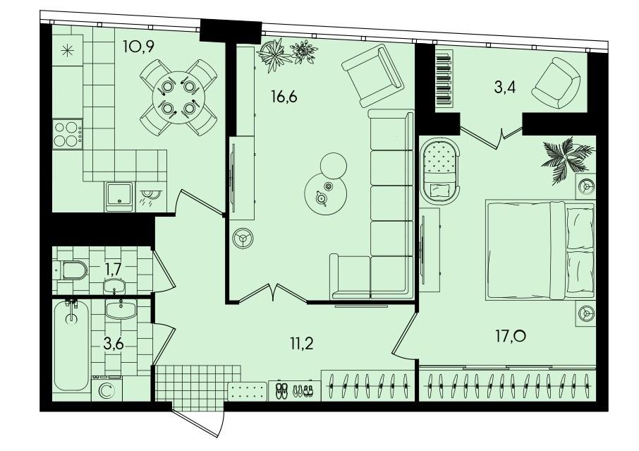 Просторная 2-комнатная квартира 64,4 м² с раздельным санузлом