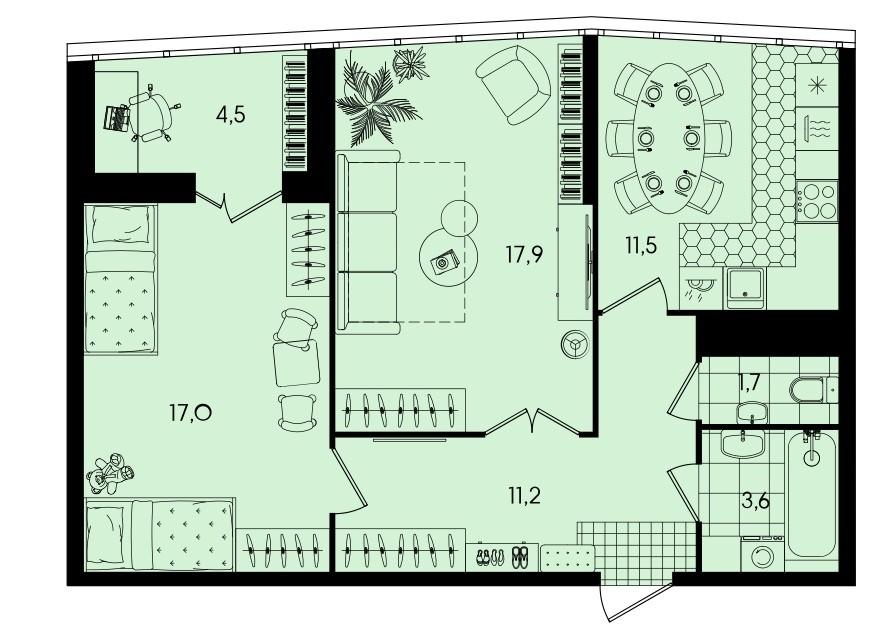 2-комнатная квартира 67,4 м² с просторными комнатами и лоджией