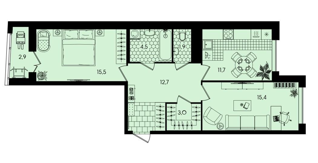2-комнатная квартира-распашонка 67,6 м² с гардеробной