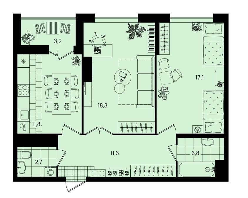 2-комнатная квартира 68,2 м² с просторными комнатами и раздельным санузлом