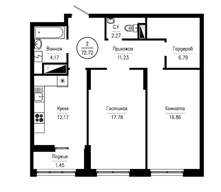 2-комнатная квартира 72,72 м² с просторной гардеробной