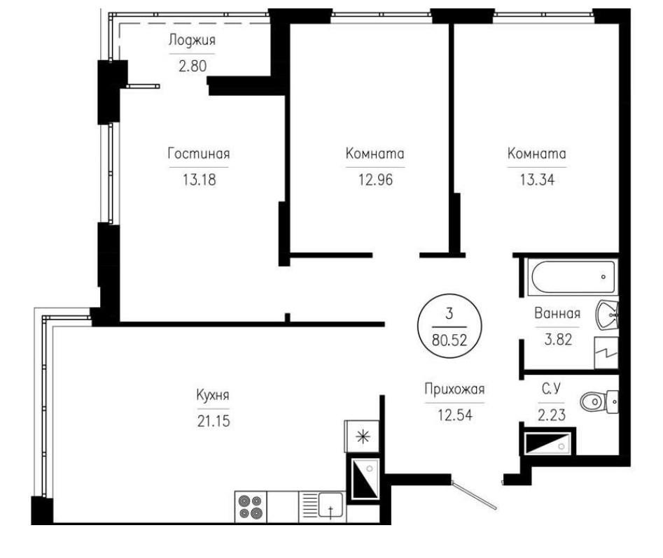 3-комнатная квартира 80,52 м² с просторной кухней