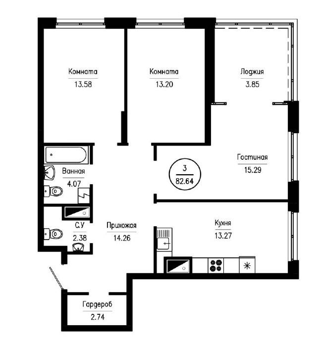 3-комнатная квартира 82,64 м² с большой лоджией из гостиной