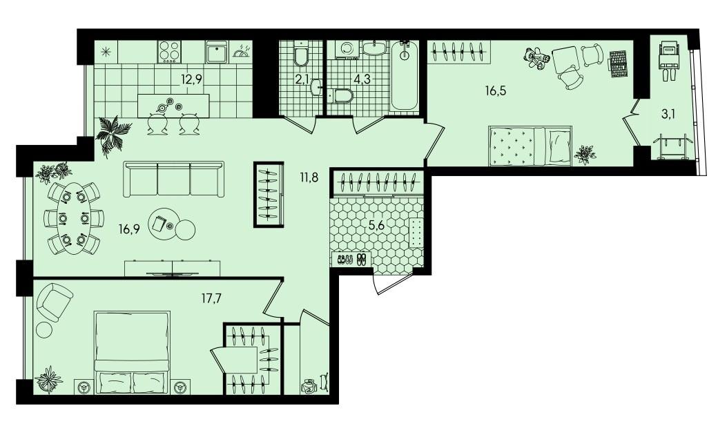 3-комнатная квартира 90,9 м² с кухней-гостиной и двумя изолированными спальнями