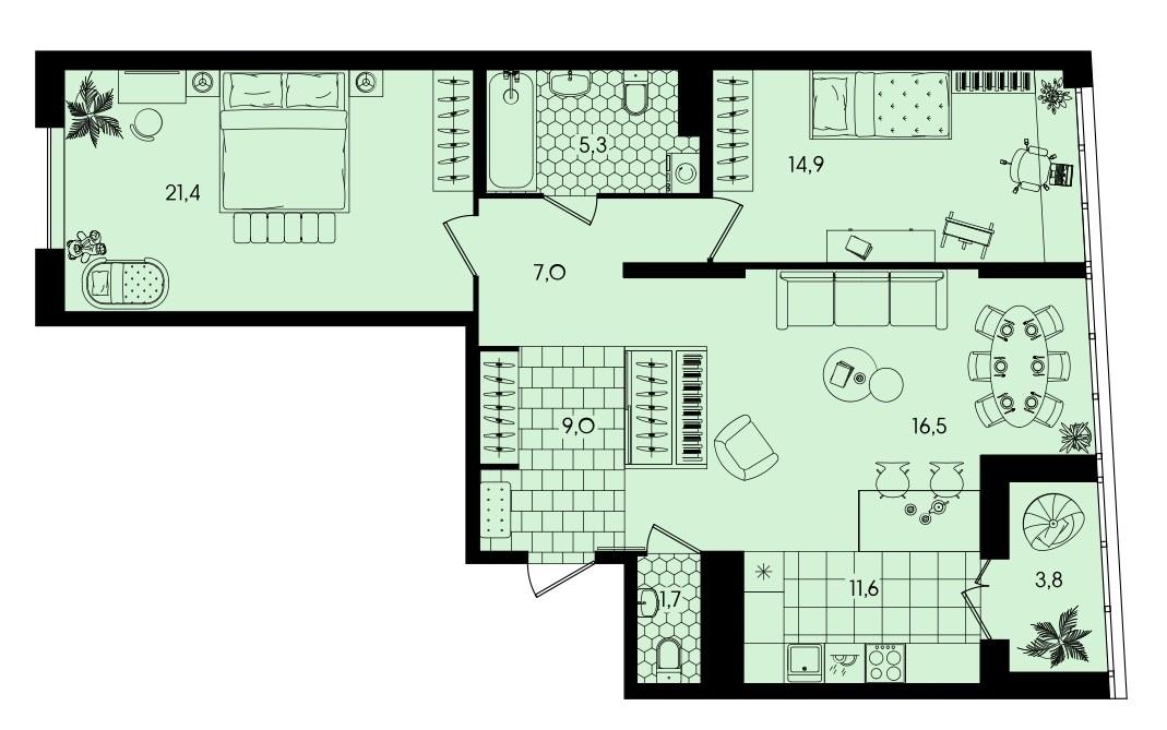 3-комнатная квартира 91,2 м² с просторной кухней-гостиной и двумя изолированными спальнями