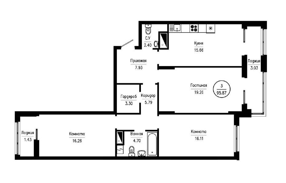 3-комнатная квартира 95,87 м² с гардеробной