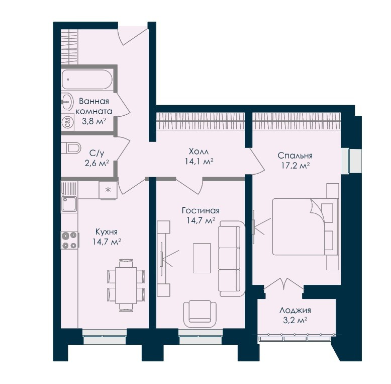 2-комнатная квартира 70.3 м² с лоджией из спальни