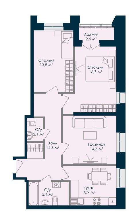 Просторная 3-комнатная квартира 80,3 м² с двумя санузлами
