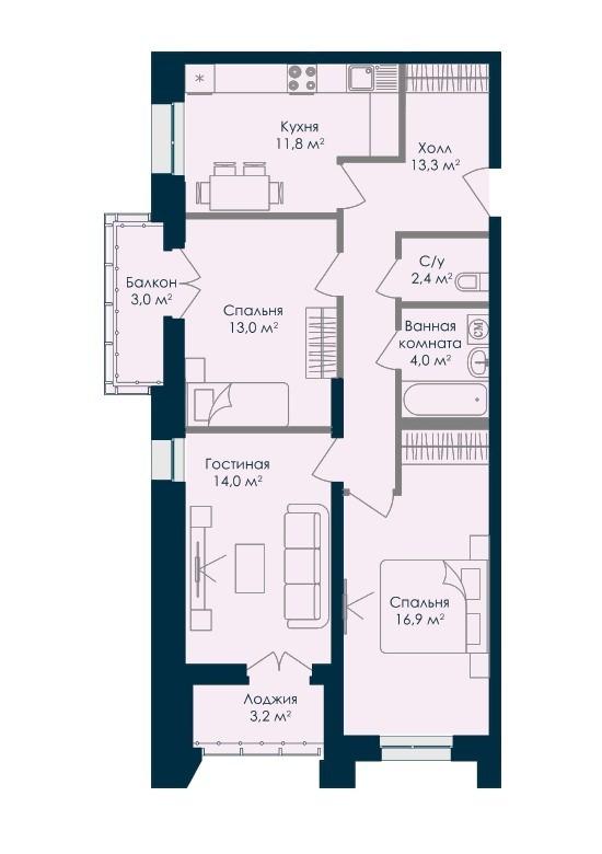 Просторная 3-комнатная квартира 81.6 м² с лоджией и балконом