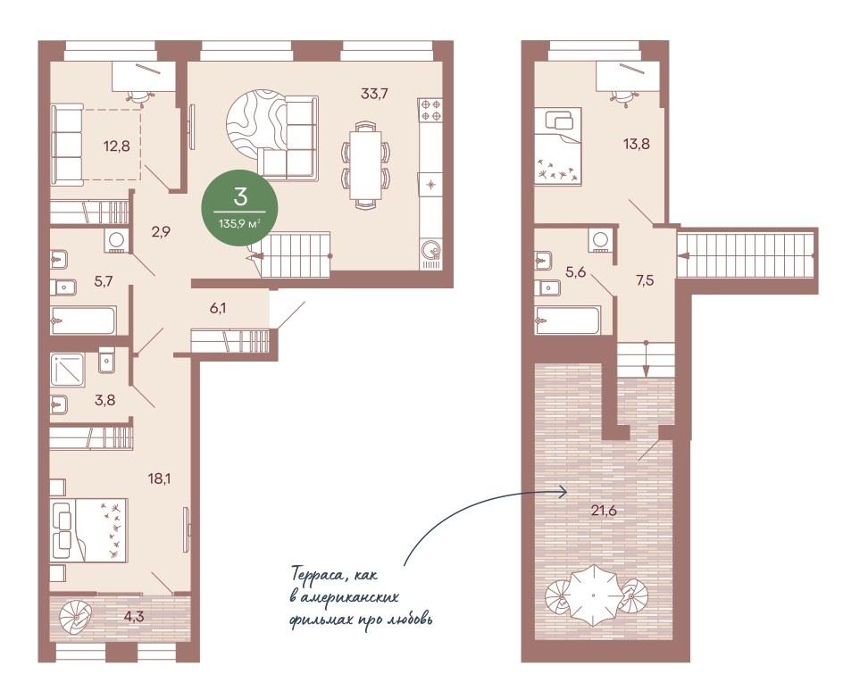 2-уровневая квартира 135,9 м² с собственной террасой