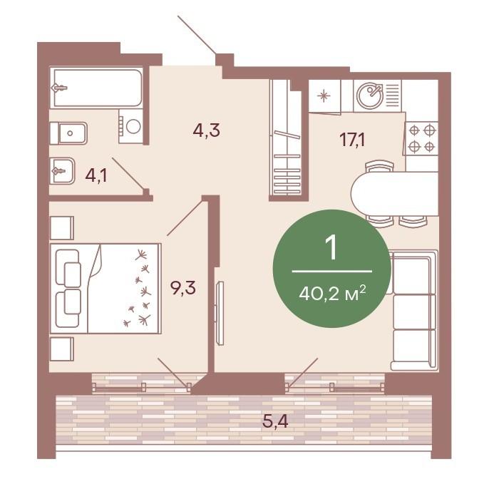 1-комнатная квартира 40,2 м² с кухней-гостиной и огромной лоджией