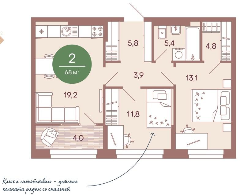 2-комнатная квартира 68 м² с лоджией из кухни-гостиной