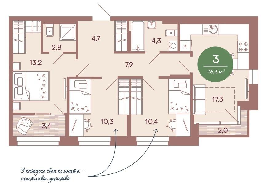3-комнатная квартира 76,3 м² с кухней-гостиной и изолированными спальнями для детей и родителей