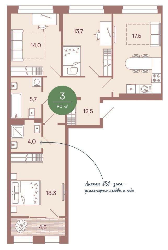 Просторная 3-комнатная квартира-распашонка 90 м² с двумя санузлами и кухней-гостиной