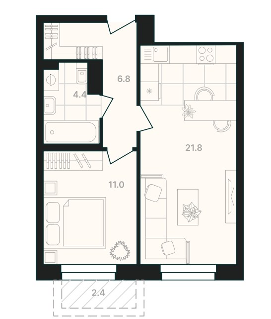 1-комнатная квартира 46 м² с просторной кухней-гостиной и изолированной спальней
