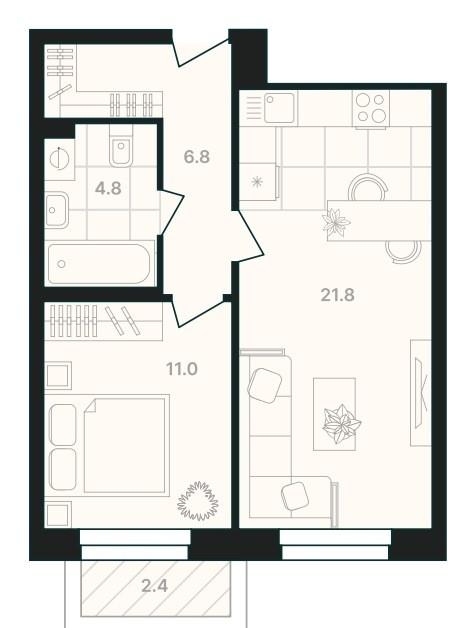 1-комнатная квартира 46,8 м² с просторной кухней-гостиной и балконом