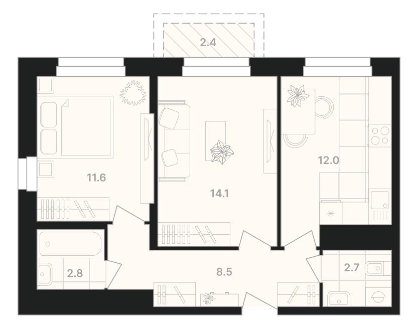 2-комнатная квартира 54,1 м² с раздельным санузлом и балконом