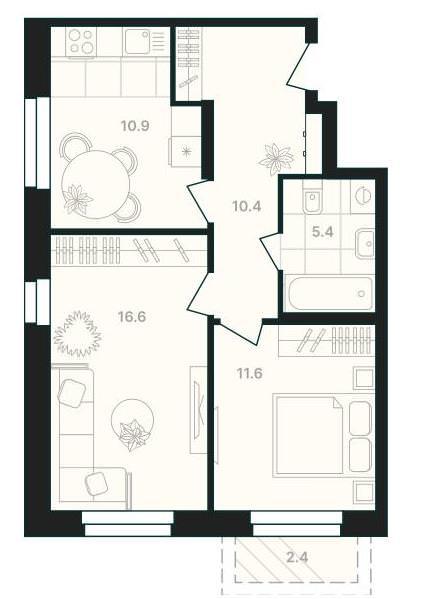 2-комнатная квартира 56,7 м² с совмещенным санузлом и балконом