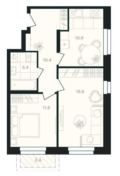 Классическая 2-комнатная квартира 57,3 м² с балконом