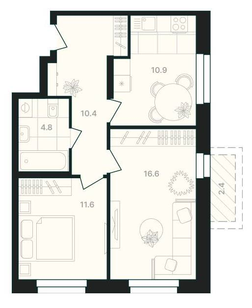 2-комнатная квартира 56,7 м² с совмещенным санузлом и балконом из гостиной