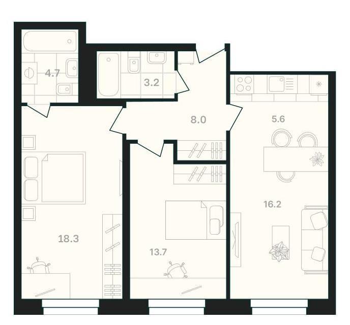 Просторная 2-комнатная квартира 69,7 м² с двумя санузлами и кухней-гостиной