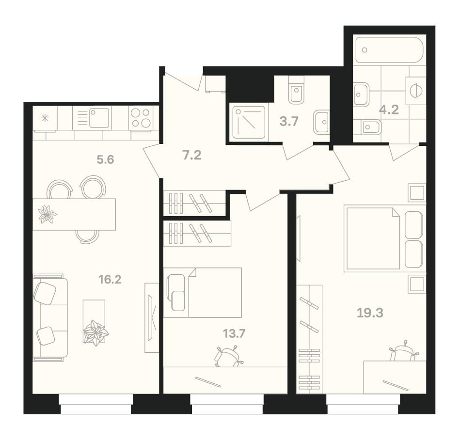 2-комнатная квартира 69,9 м² с кухней-гостиной и двумя изолированными спальнями