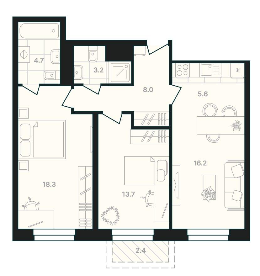 2-комнатная квартира 72,1 м² с просторными комнатами и двумя санузлами