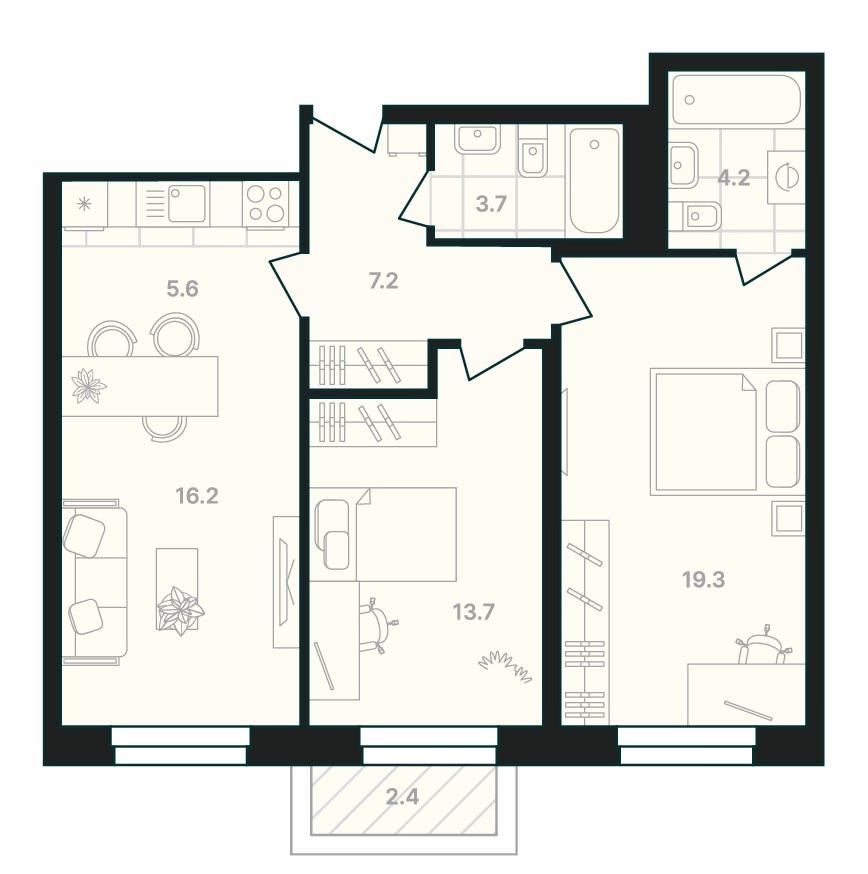 2-комнатная квартира 72,3 м² с кухней-гостиной и балконом из спальни