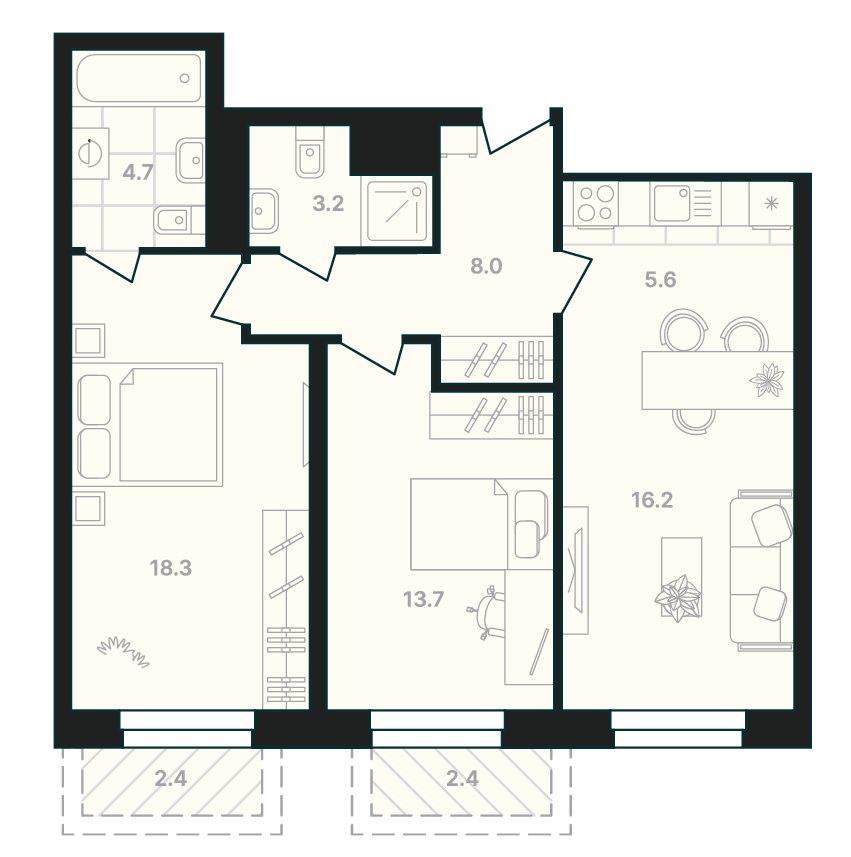 2-комнатная квартира 74,5 м² с двумя балконами