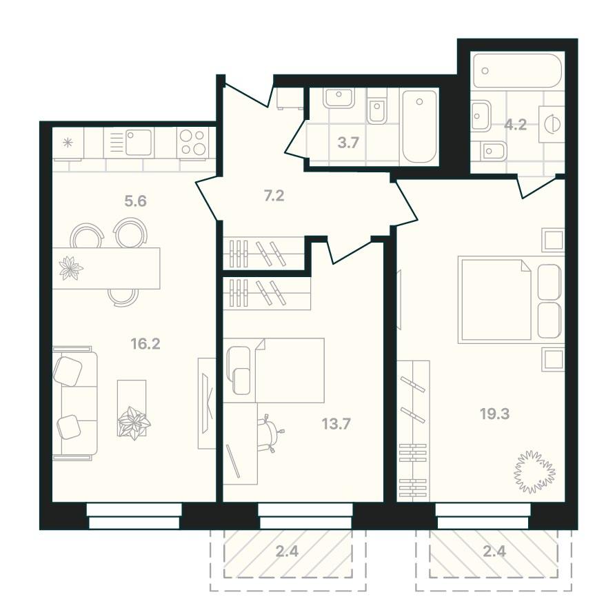 Просторная 2-комнатная квартира 74,7 м² с двумя санузлами и двумя балконами