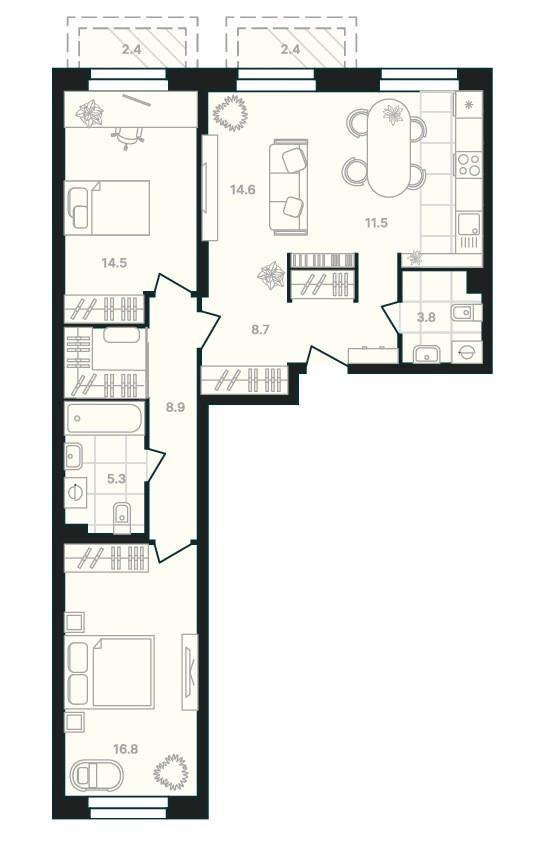3-комнатная квартира с просторной кухней-гостиной и двумя балконами