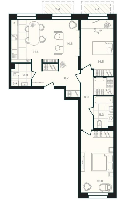3-комнатная квартира 87,5 м² с просторной кухней-гостиной и двумя санузлами