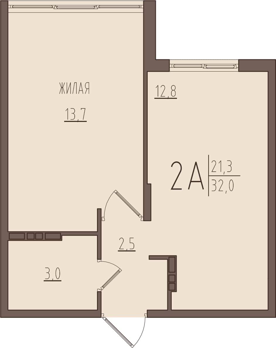 Уютная 1-комнатная квартира 32 м² с просторной кухней