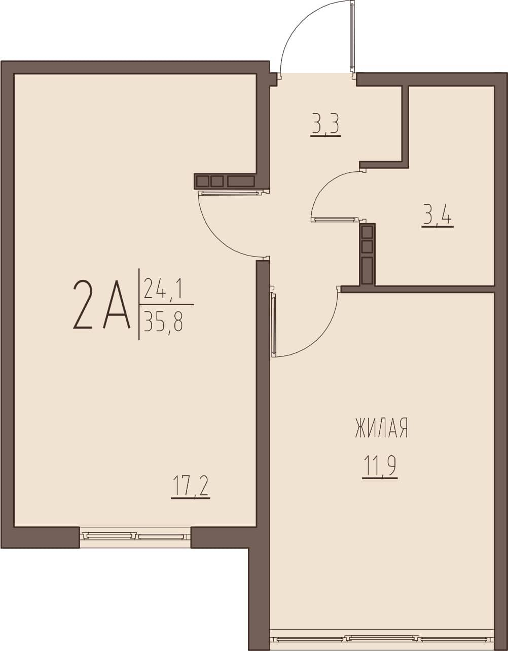 2-комнатная квартира 35,8 м² с просторной кухней-гостиной
